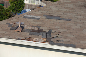 Damaged roof shingles in need of repair